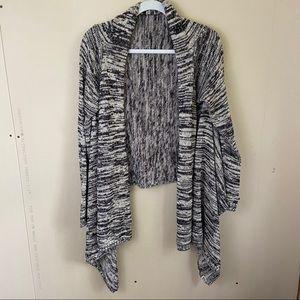 Roxy Marled Black & White Knit Waterfall Cardigan